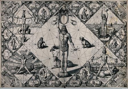 V0041123 Human proportions established through mythological figures.